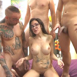 Noa.Without Tomy. Three big cocks. Gangbang. Bareback. FRESH DIVORCED AFTER 10 YEARS.